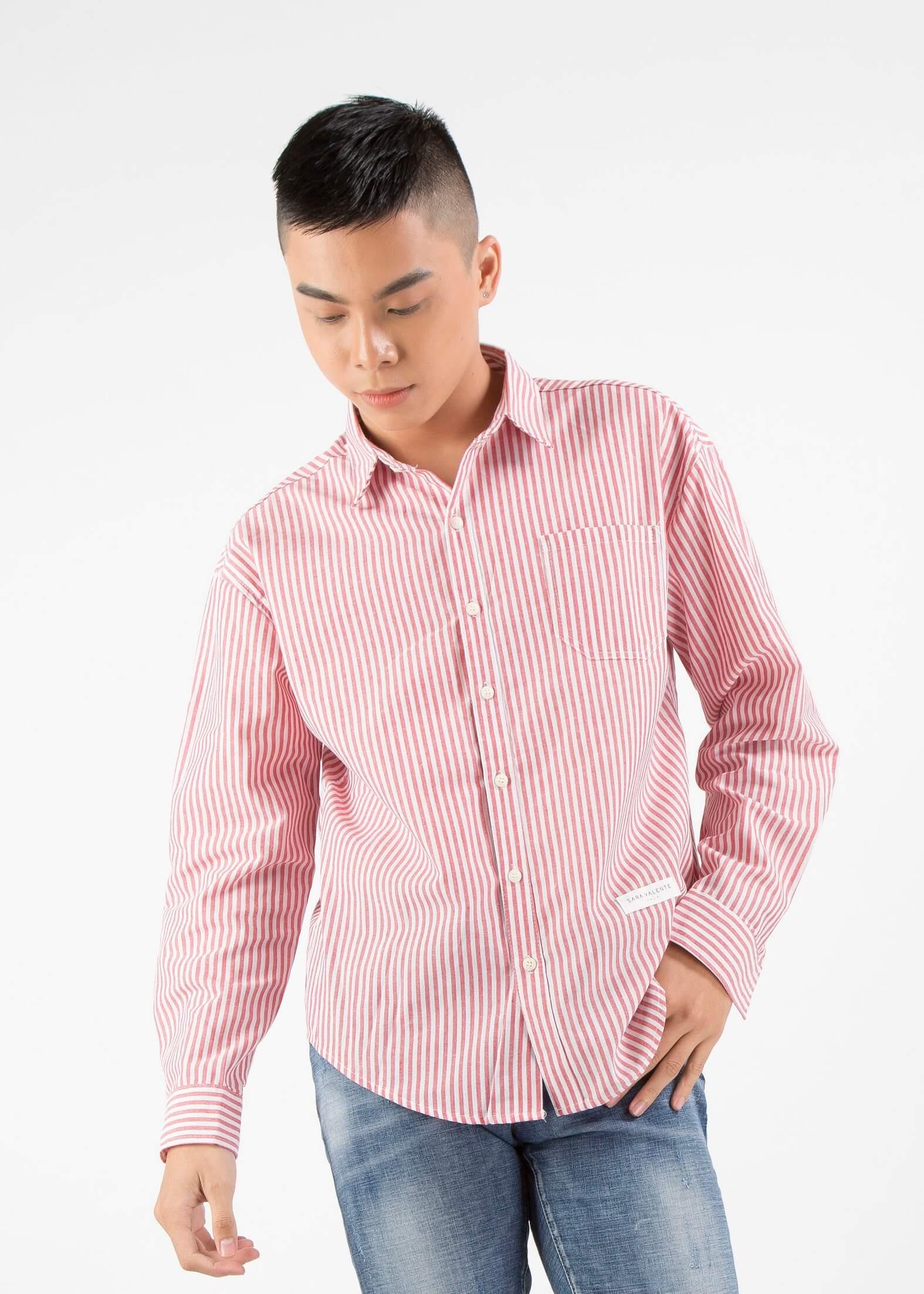 Mẫu áo sơ mi kẻ đứng (dọc) cá tính phong cách Unisex