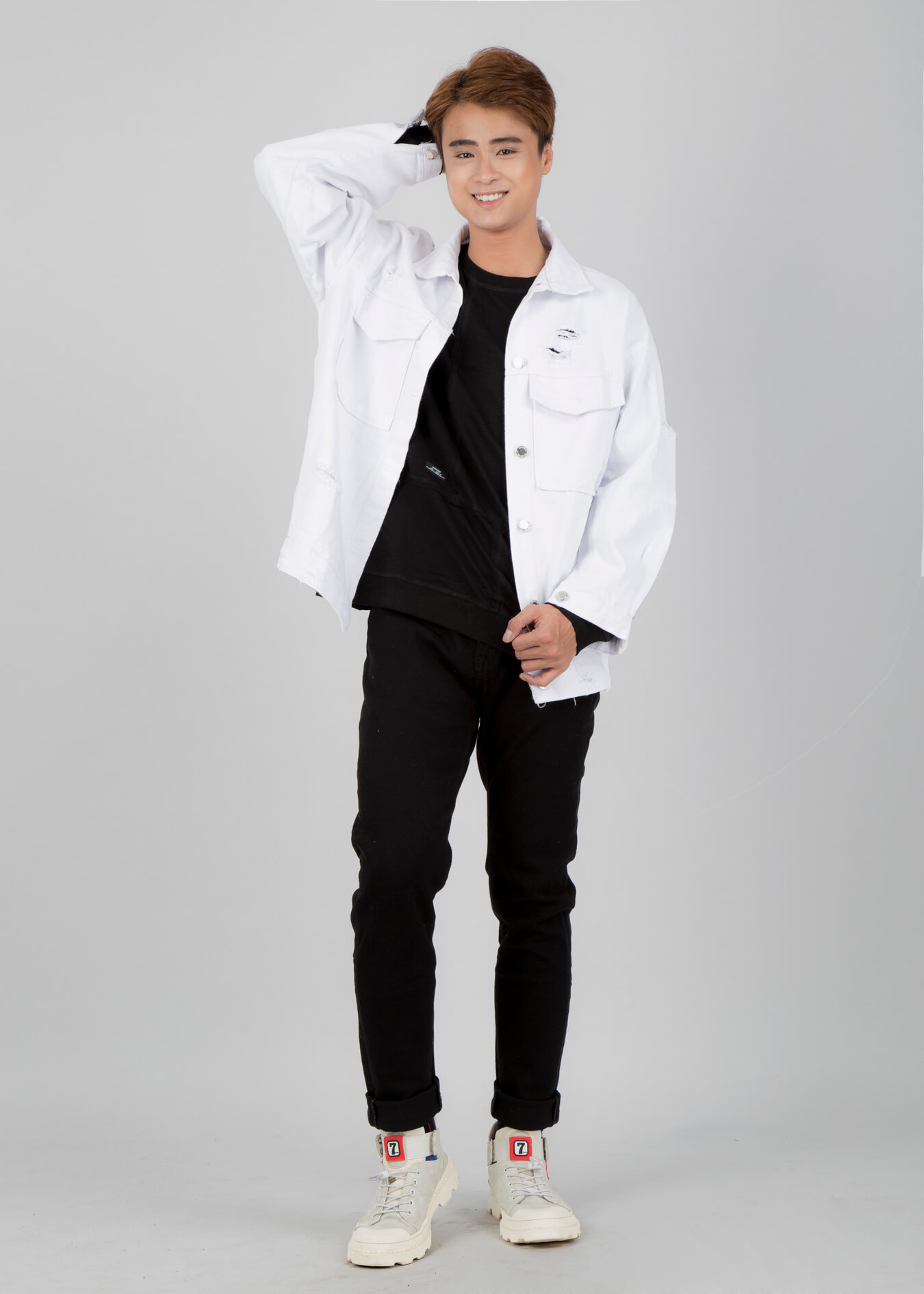 Áo khoác jeans nam trắng