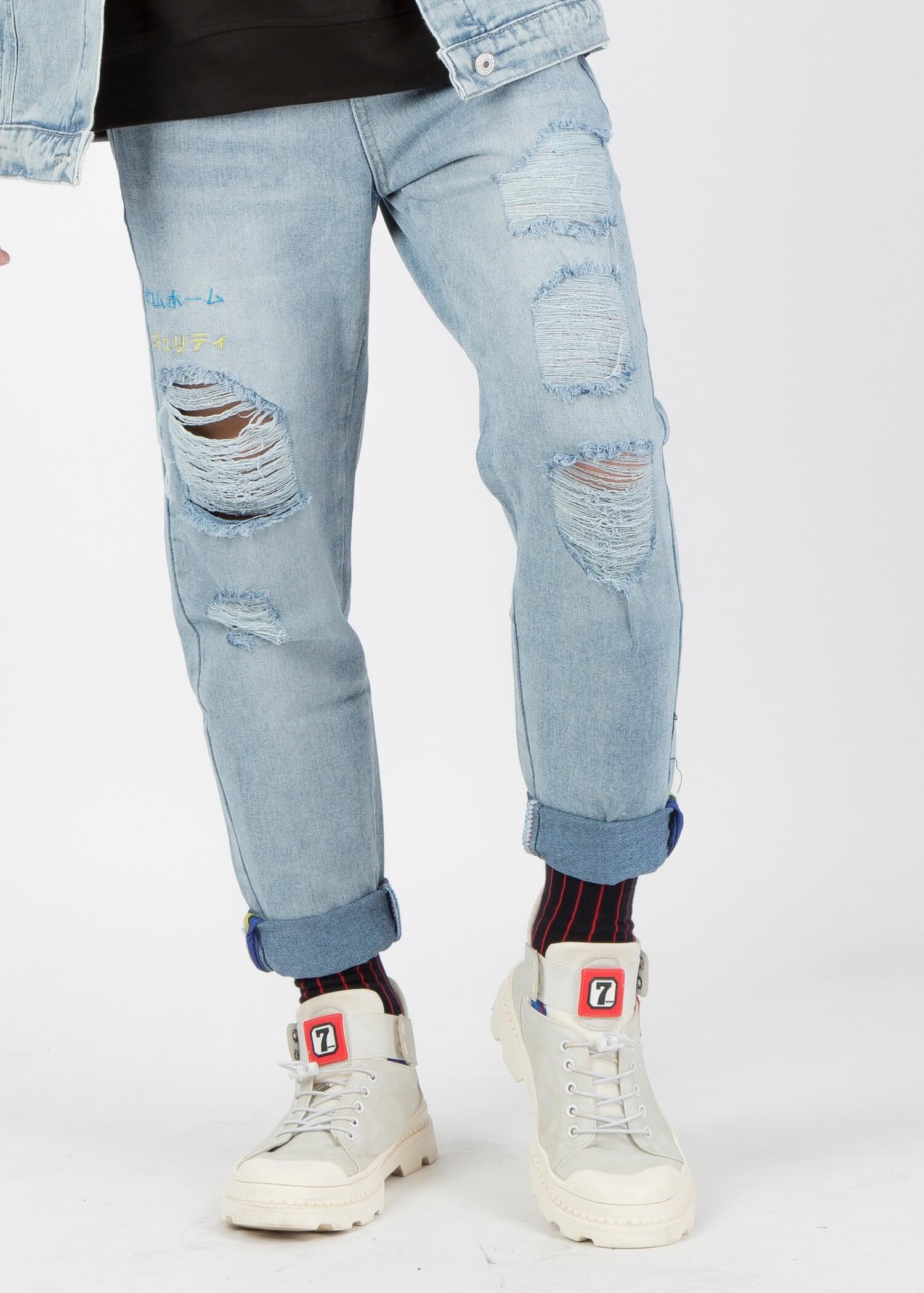 Mẫu quần jean rách lớn xịn xò có thể handmade từ quần jean basic