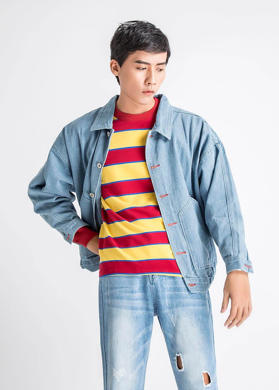 Áo khoác jeans nam màu xanh truyền thống
