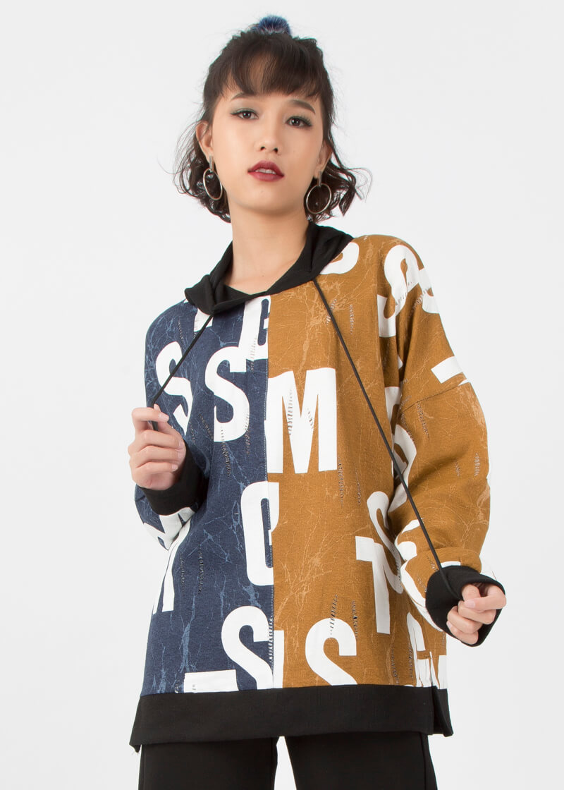 Áo hoodie unisex họa tiết
