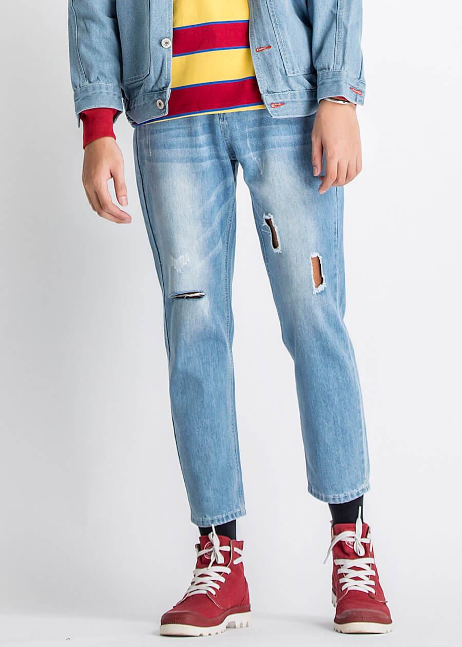 Người thấp lùn chân to hãy thử mặc quần jean rách gối