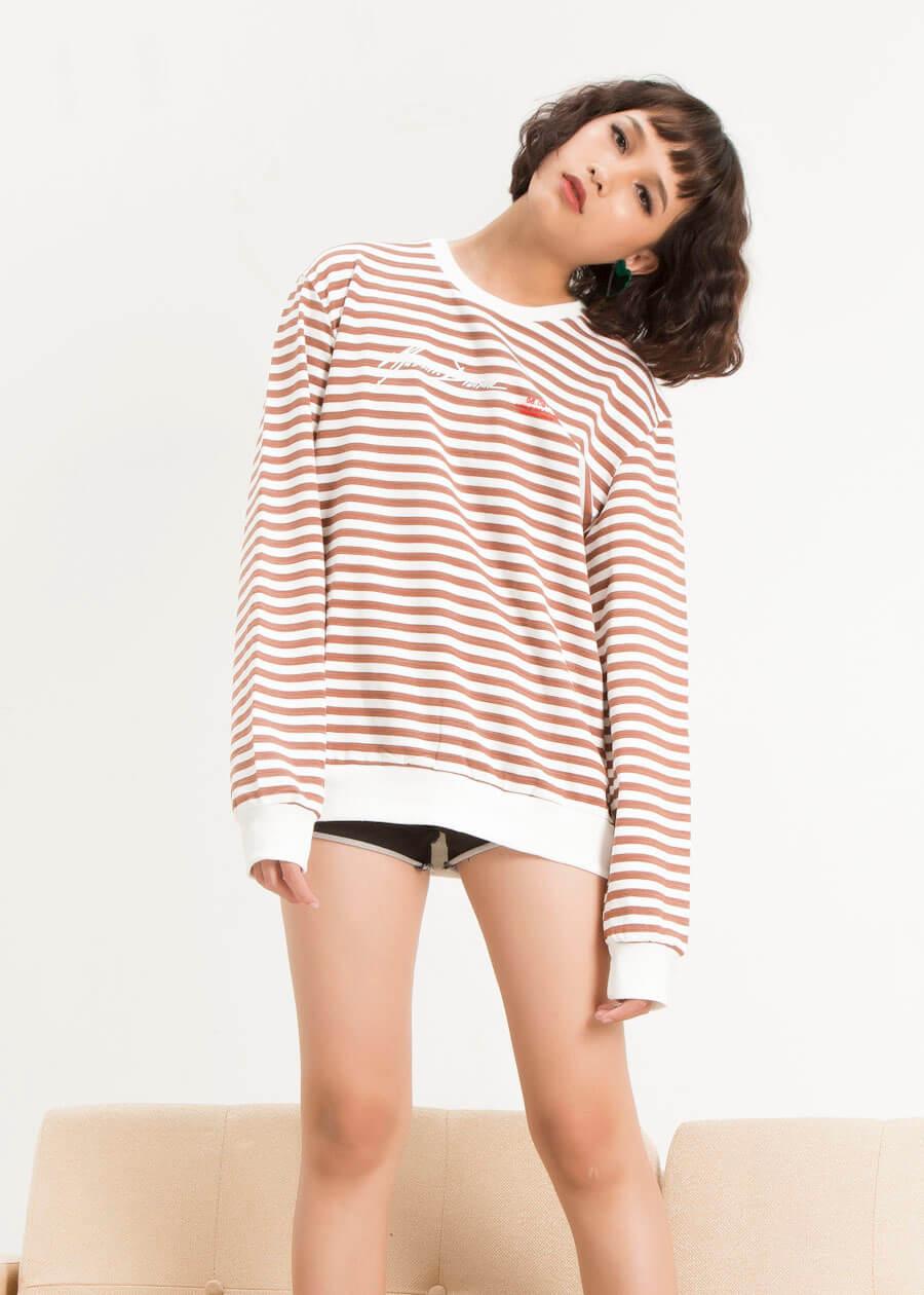Áo thun tay dài (sweatshirt) unisex kẻ sọc