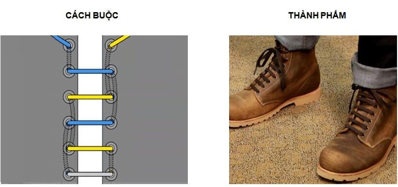 Cách buộc dây giày Vans 5 lỗ kiểu hàng ngang