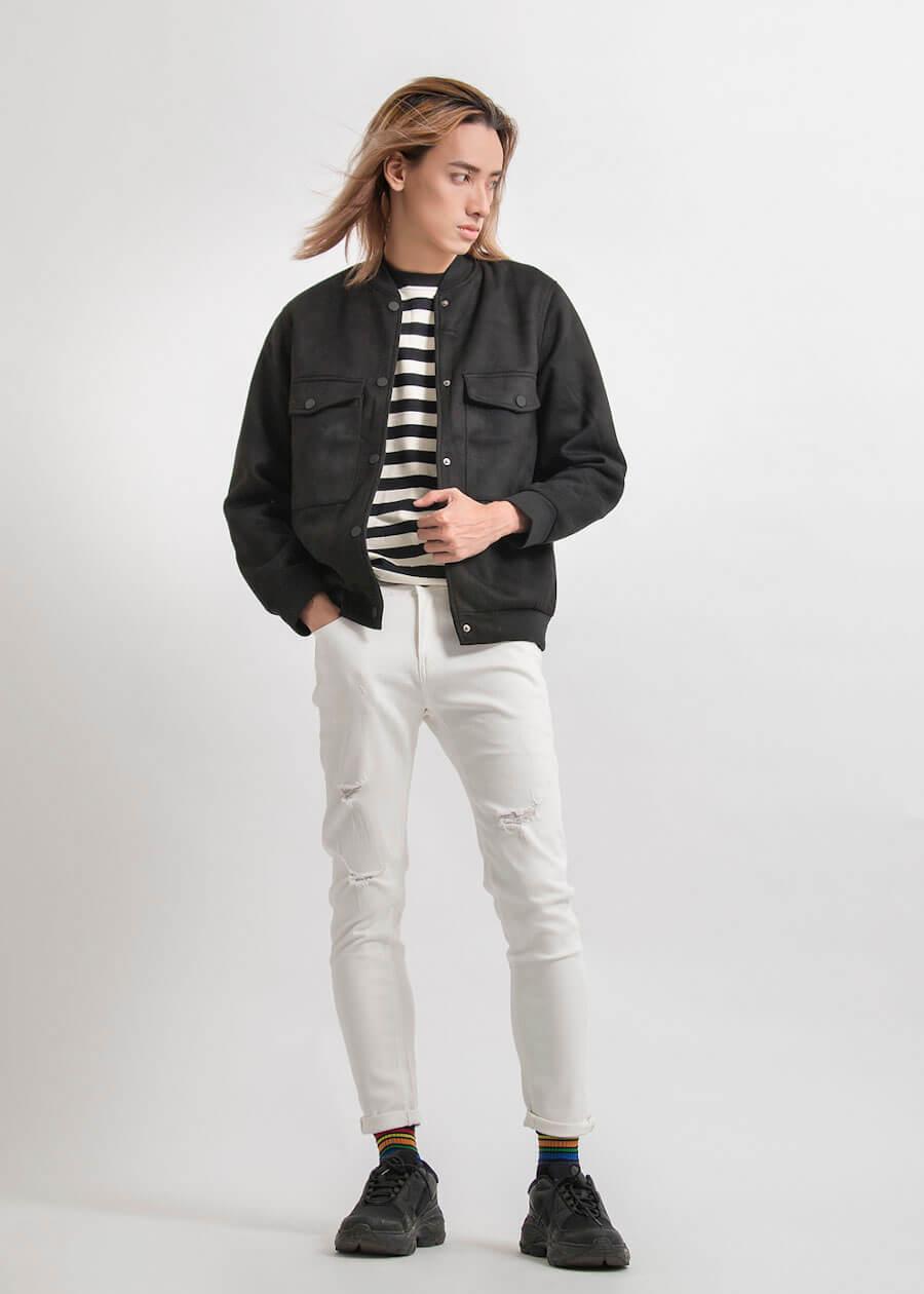 Mix áo khoác bomber với quần jean