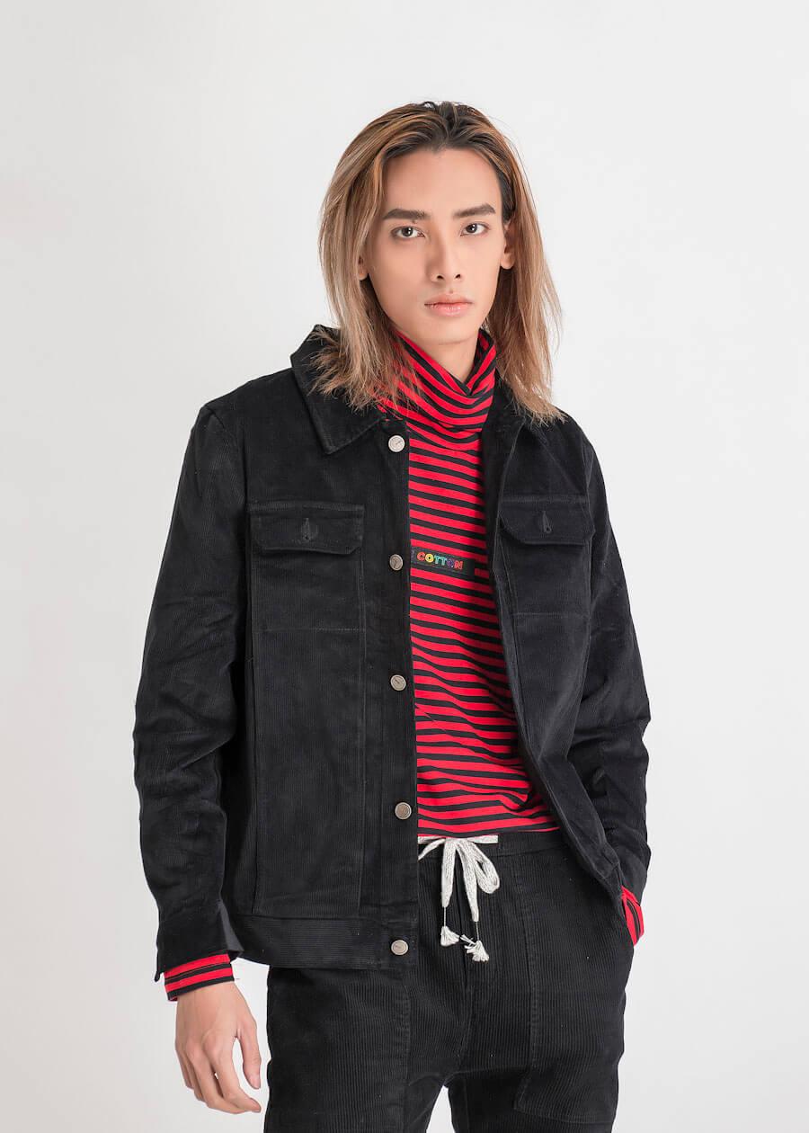 Áo khoác jeans nam màu đen