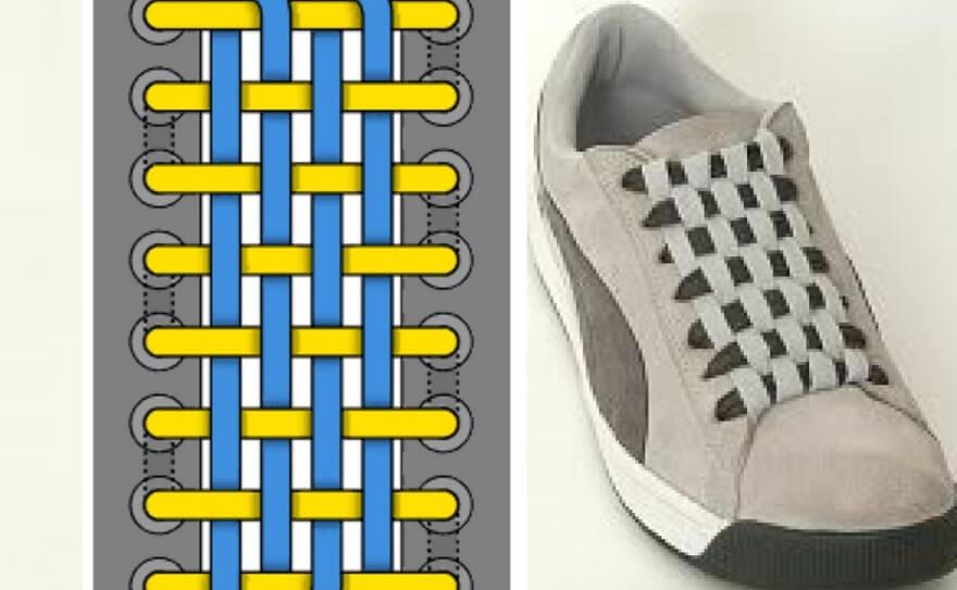 Cách thắt dây giày kiểu đan dây