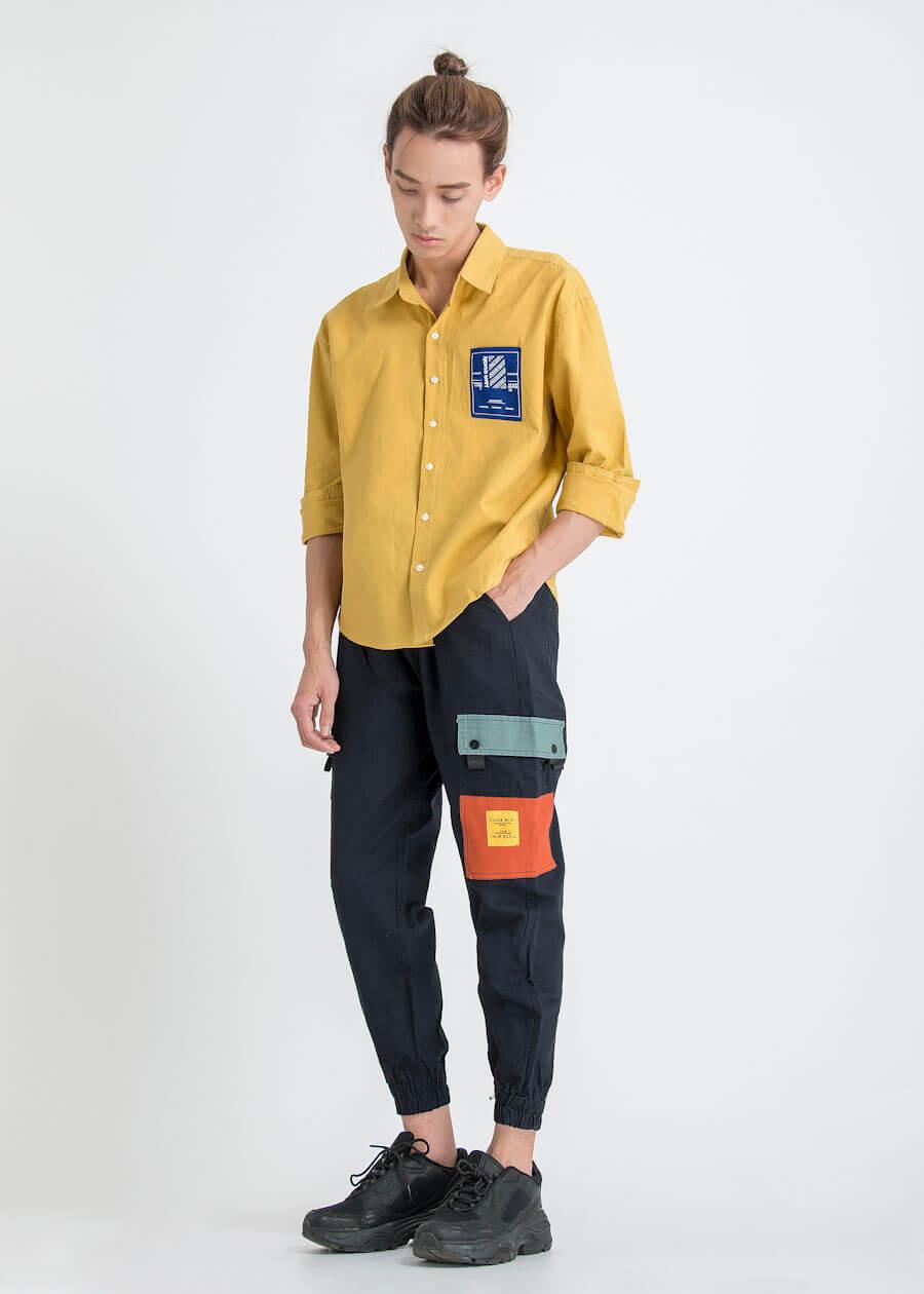 Quần jogger phối với áo sơ mi *(shirts)
