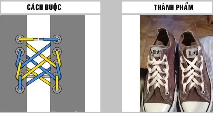Cách buộc dây giày Vans 5 lỗ kiểu mạng nhện
