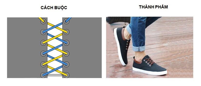 Cách buộc dây giày Vans 5 lỗ kiểu Criss – Cross