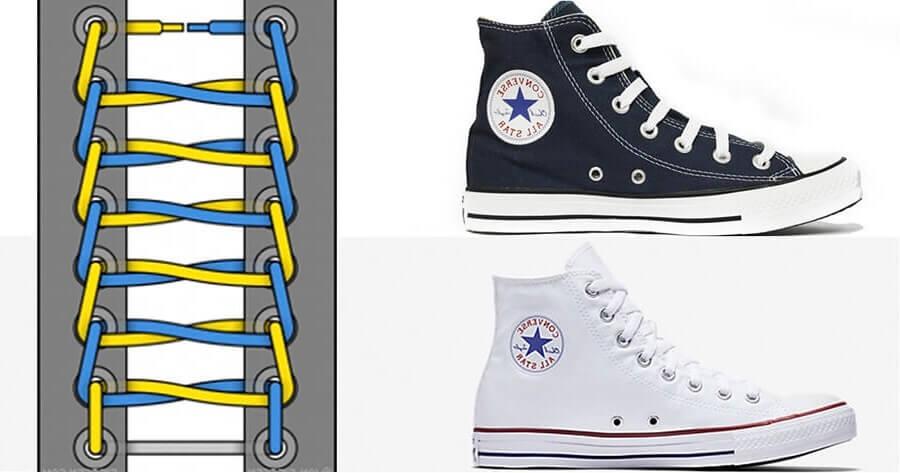 Cách thắt dây giày converse cổ cao dạng hình thang