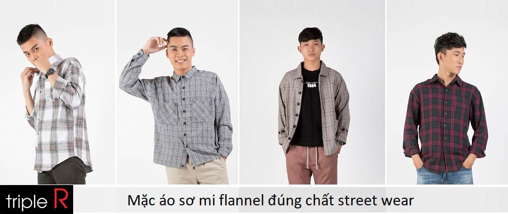 Mặc áo sơ mi flannel đúng chất street wear