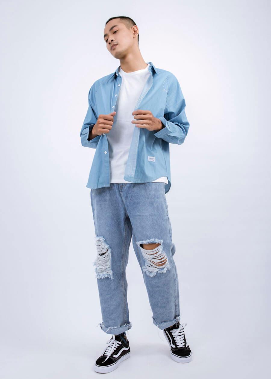 Outfit mùa hè phong cách tone sur tone xanh nhẹ mát mẻ