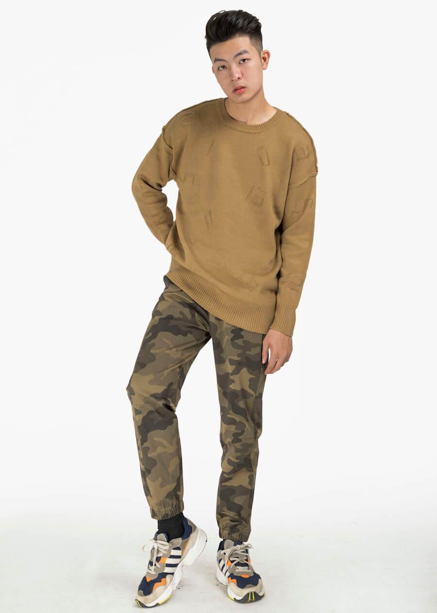 Áo len (sweater) kết hợp cùng quần kaki và giày thể thao họa tiết màu be cực chất