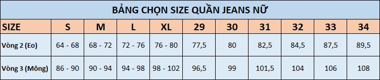Bảng chọn size quần jeans nữ theo số đo vòng 2 (eo) và 3 (mông)