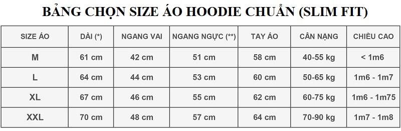Bảng thông số chọn size áo hoodie form thường dựa vào chiều cao cân nặng