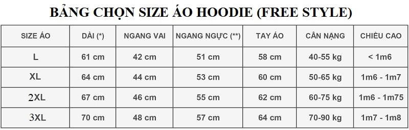 Bảng thông số chọn size áo hoodie form rộng (free style) thường dựa vào chiều cao cân nặng