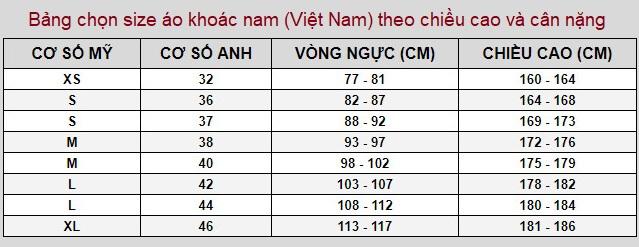 Bảng chọn size áo khoác nam (Việt Nam) theo chiều cao và cân nặng