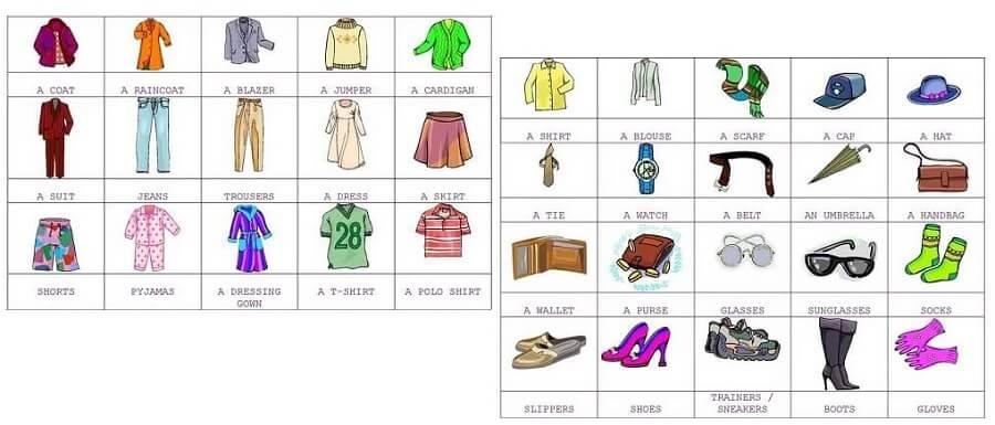 Trang phục phần trên, dưới thắt lưng và phụ kiện thời trang trong tiếng Anh là gì?