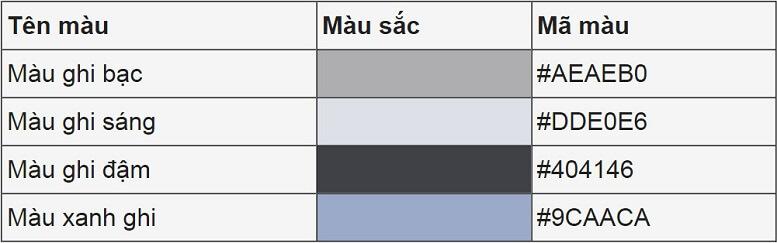 Các mã màu sắc kỹ thuật của màu ghi
