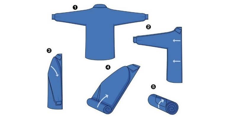 Cách 2: Cách gấp áo sơ mi không nhăn kiểu cuộn tròn