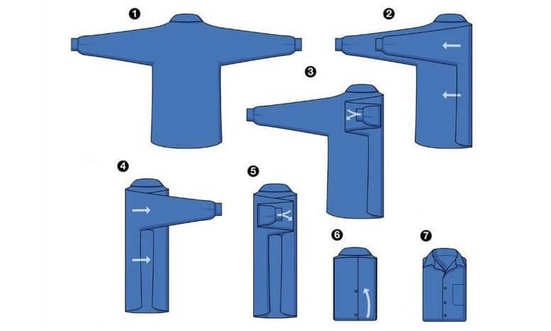 Cách 3: Cách gấp áo sơ mi siêu đơn giản giúp áo không nhăn