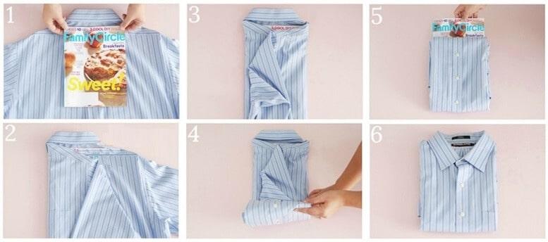 Cách 4: Cách gấp áo sơ mi không bị nhăn với cuốn sách hoặc tạp chí