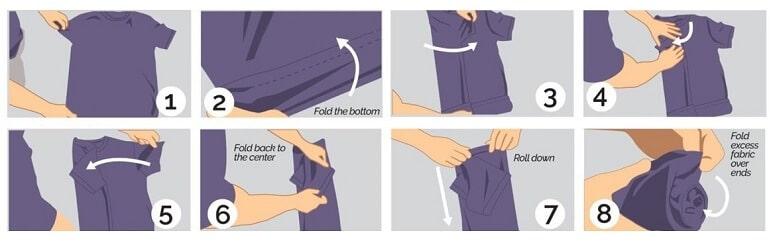 Cách 5: Cách gấp áo sơ mi ngắn tay không bị nhăn