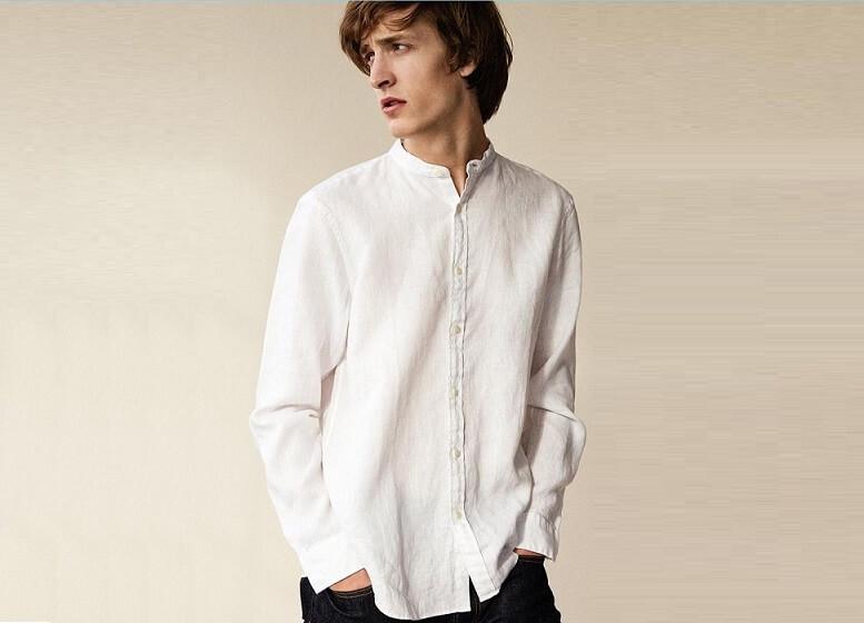 Mẫu áo thun cổ trụ nam với chất liệu vải đũi