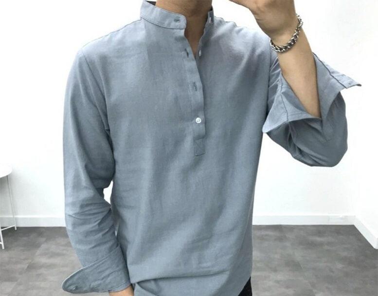 Áo sơ mi kiểu cho nam giới đầy phong cách từ chất liệu vải đũi